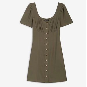 Express Button Front Scoop Neck Mini Dress Small